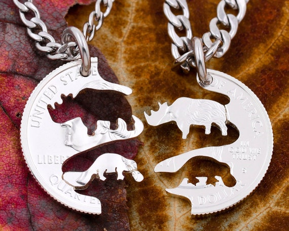 Rhino and Platypus Best Friends Necklaces, BFF Gift, Friendship Jewelry, Endangered Animal Jewelry, Personalized Hand Cut Coin