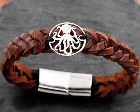 Octopus Bracelet, Kraken Jewelry, Hand Cut Coin Sewn on a Leather Bracelet