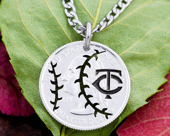 Baseball Necklace with Intertwined Custom Initials, Mascot Letters, Summer Team Season, Hand Cut Coin