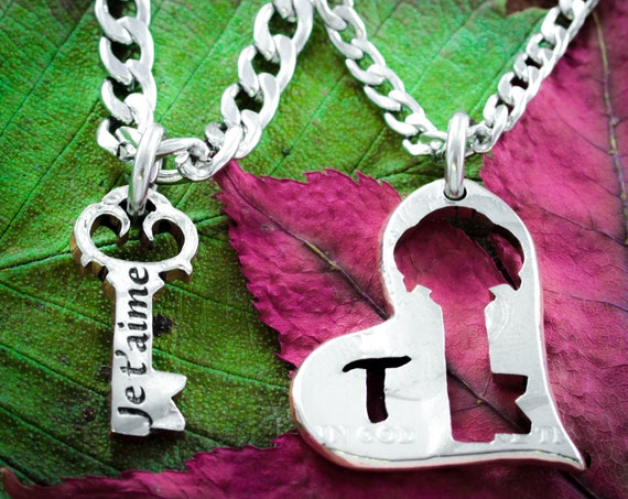 Love Necklaces, Je T'aime French I love you, Key to Heart Necklace, His and Her, Custom Initial, Relationship Jewelry by Namecoins