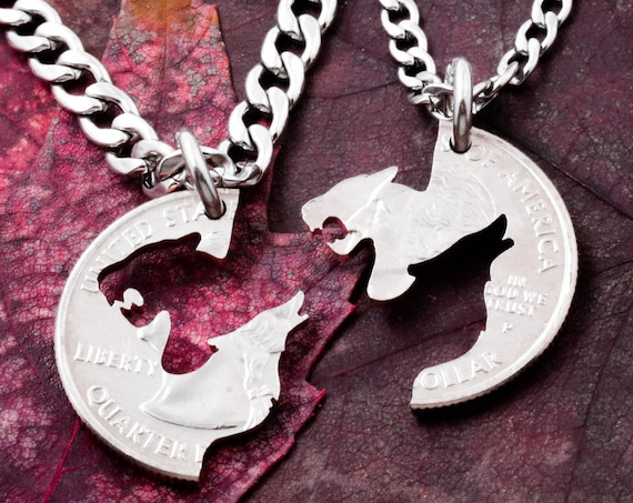 Lioness and Wolf Couples Necklaces, Howling Wolf Gift, Tiger and wolf, Best Friends or Couples Jewelry, BFF Gift, Hand cut coin