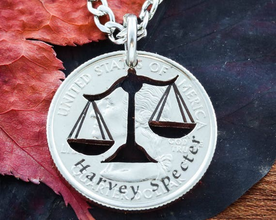 Scales Of Justice Necklace, Lawyer Jewelry, Hammered and Engraved Silver Disk or coin.