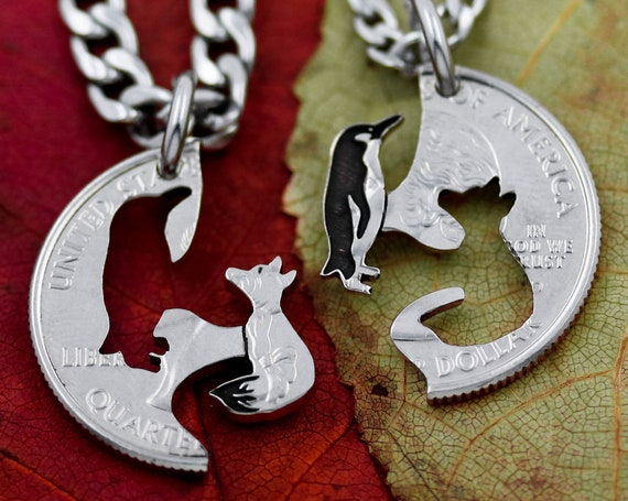 Fox and Penguin Couples Jewelry, Best Friend Necklaces, Interlocking Animals, Hand Cut Coin