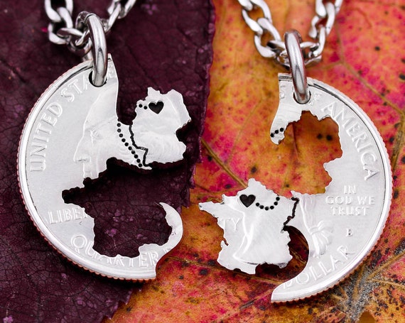 Country to Country Relationship Necklaces, France to Germany, Engraved Heart on Your Cities, Interlocking Countries, Hand Cut Coin Jewelry