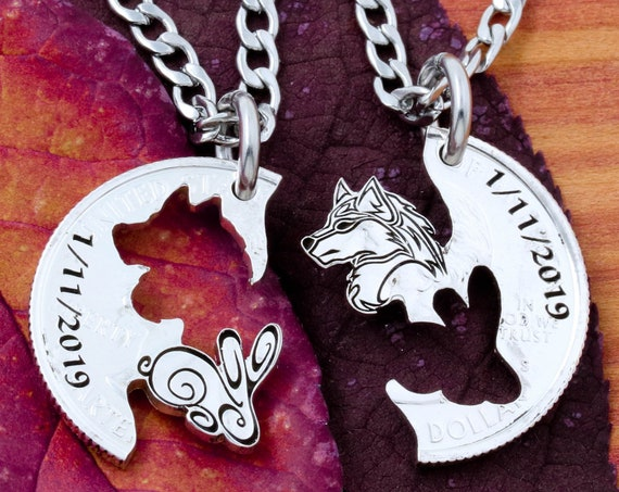 Rabbit and Wolf Necklaces with Custom Dates, BFF and Couples Relationship Set, Animal Jewelry, Hand Cut Coin