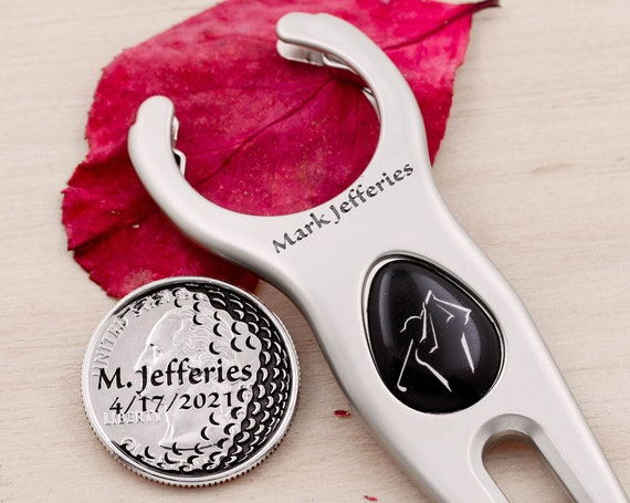 Custom Name Engraved Golf Divot Tool, Name and Date Engraved on Golf Marker, Golfers Gift, Memorial Token, Etched Quarter