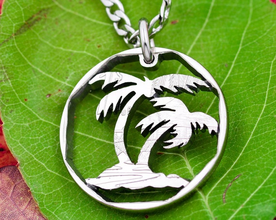Palm Tree Necklace with Octagonal Shape, Beach Jewelry, Cut Out Thin Rim Quarter, Hand Cut Coin