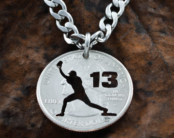 Personalized Baseball Catcher Necklace, Custom Jersey Number Cut, Sports Gifts For Guys, Man or Woman Option, Softball, Hand Cut Coin