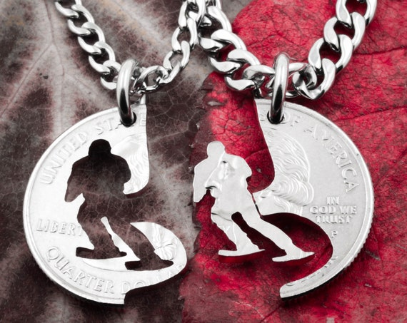 Skier Gift for Men, Skiing Necklace, Ski Life Best Friends Necklaces, Friendship, Cut Coin
