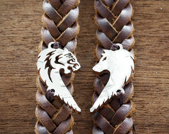Tiger and Wolf Relationship Bracelets, Bff Heart Jewelry, Couples leather Bracelets, His and Her, Gifts for him and her, Man Bracelet