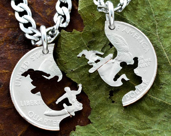 Snowboarding Couples Necklaces, Snowboard BFF Gifts, Relationship and Best Friends Jewelry, His and her, Friendship, Boyfriend, Cut Coin