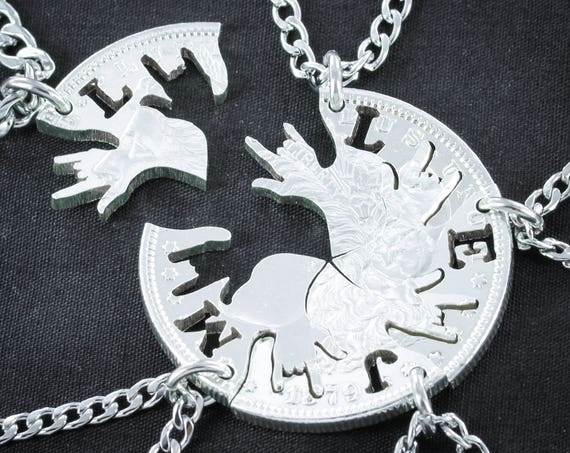 5 Best Friends or Family Necklaces, with Custom initials, I love you hands in ASL, 5 BFF, hand cut coin