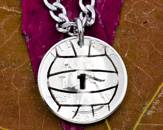 Volleyball Necklace with Custom Jersey Number, Sports Jewelry For Boys and Girls, Volleyball Team Gifts, Hand Cut Coin