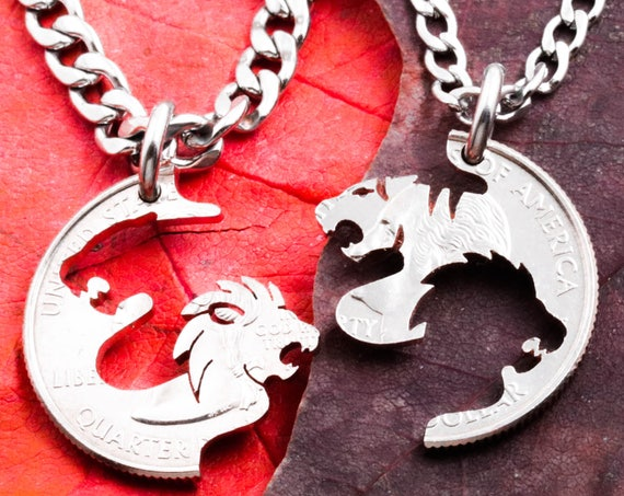Lion and Tiger Couples Necklaces, BFF or Couples, Tigress Jewelry, Best Friends Gift, Interlocking hand cut coin, By Namecoins