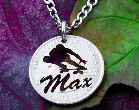 Personalized Skateboarder Necklace, Custom Name Engraved, Longboard Skateboard Gift, Hand Cut Coin, Skateboarding Jewelry
