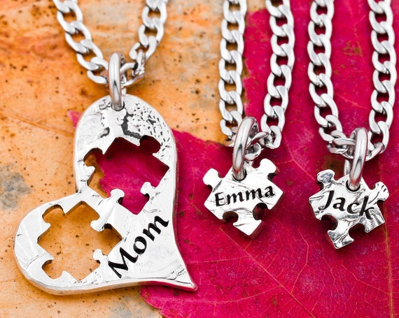 Mom Heart Puzzle Necklaces with Kids Names, 3 Custom Engraved Name Necklaces, Puzzle Piece Jewelry, Family Gift, Hand Cut Coin