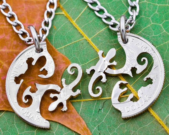 Salamander Necklaces for 2, Best Friends or Couples Gifts, BFF, Interlocking Animal Jewelry Set, Hand Cut Coin