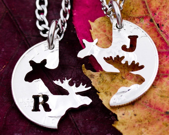 Moose Couples Necklaces with Custom Cut Initials, Bull and Cow, His and Her Matching Animal Jewelry, Hand Cut Coin