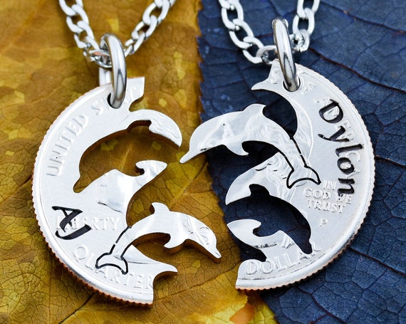 Dolphin Necklaces with Custom Engraved Names, Animal Jewelry, BFF Gifts, BFF Couples Necklaces, Interlocking Relationship Set, Hand Cut Coin