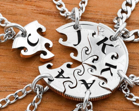 6 Piece Interlocking Necklaces with Custom Engraved Initials, Family or Best Friends Gifts, Hand Cut Coin