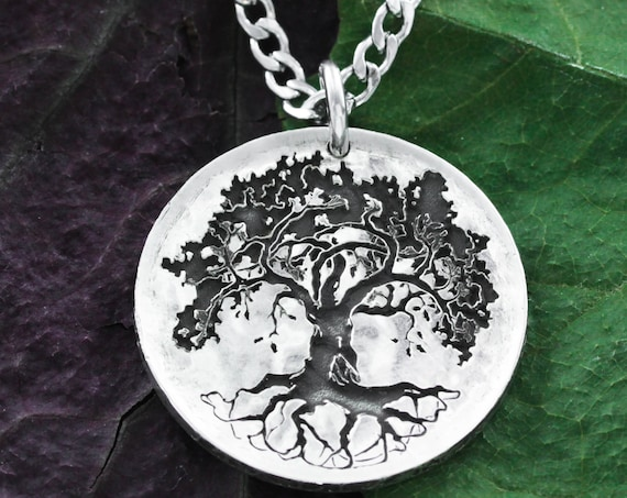 Silver Oak Tree Necklace, Tree Jewelry, Hammered and Engraved Silver coin.