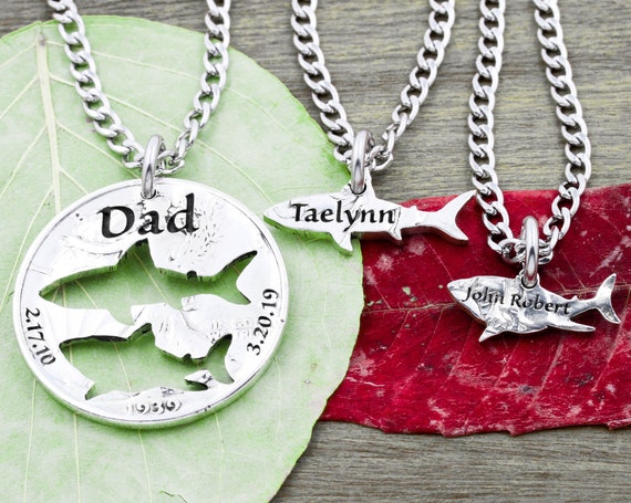 3 Piece Fishing Necklaces, Engraved Names and Dates, Fish Cut Outs with Names, Father and Kids Family Jewelry, Hand Cut Coin