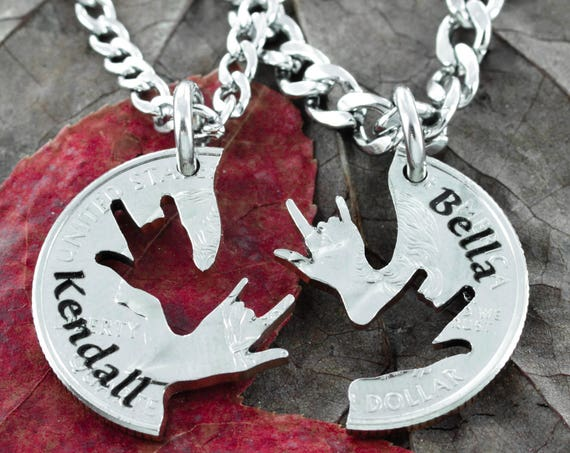 Best Friend Necklaces with your names, ASL I love you hands, Couples and BFF Gifts, Interlocking like a puzzle, hand cut coin