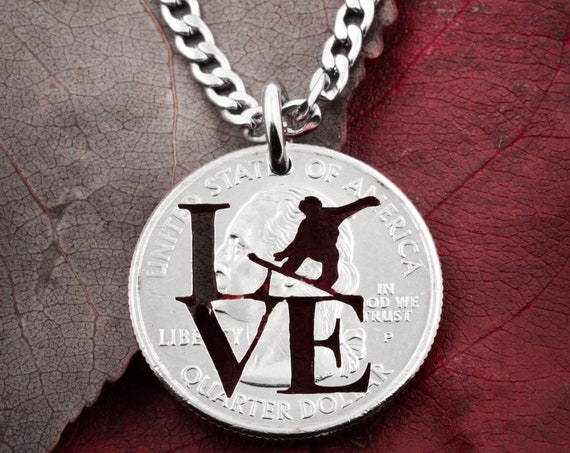 Love Snowboard, Snowboarding gift, winter sports jewelry, hand cut coin