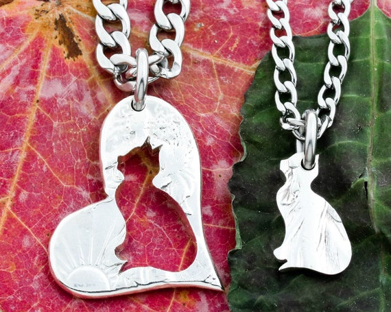 Cats in a Heart Necklaces, Inside Outside Cat Necklaces, Best Friends and Couples Gifts, Pet Memorial Gifts, Hand Cut Coin