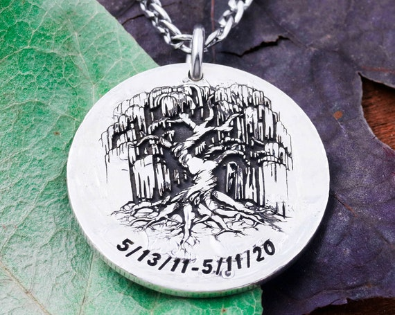 Silver Weeping Willow Tree Necklace, Custom Engraved Dates, Anniversary Pendant, Hammered and Engraved Silver Coin