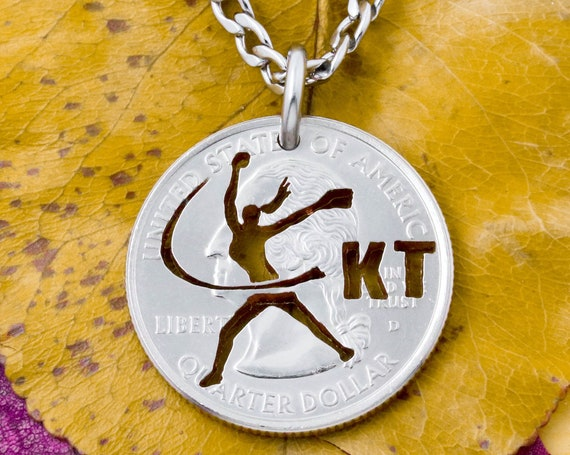 Softball Fastpitch Necklace, Custom Cut Initials, Girl's and Women's Sports Jewelry, Hand Cut Coin