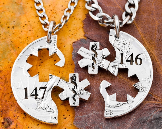 Star of Life Necklaces with Custom Numbers Engraved, Medical Symbol Relationship Necklaces, Best Friends Interlocking Hand Cut Coin