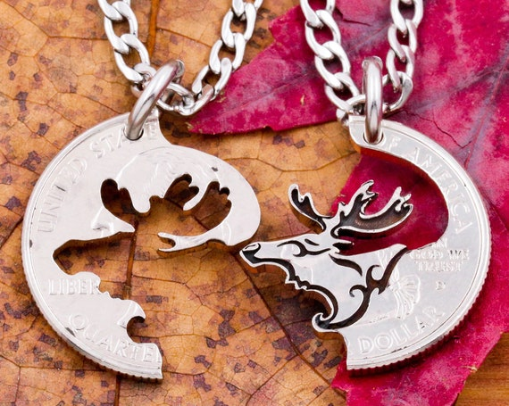 Moose Head Necklaces, Engraved Bull Moose, Couples or BFF Gifts, Hand Cut Coin Jewelry