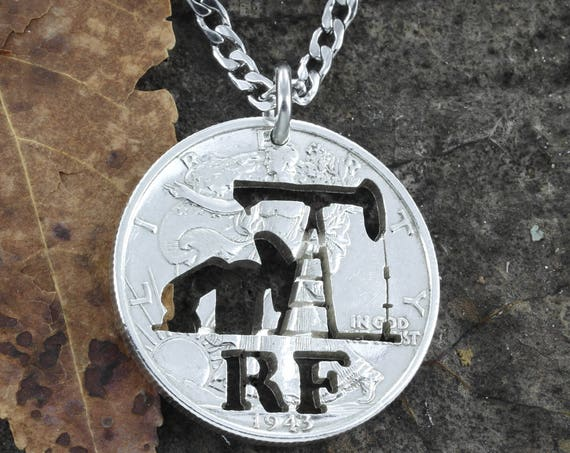 Oil Rig Necklace with Custom Initials, Pump Jack, Hand cut coin