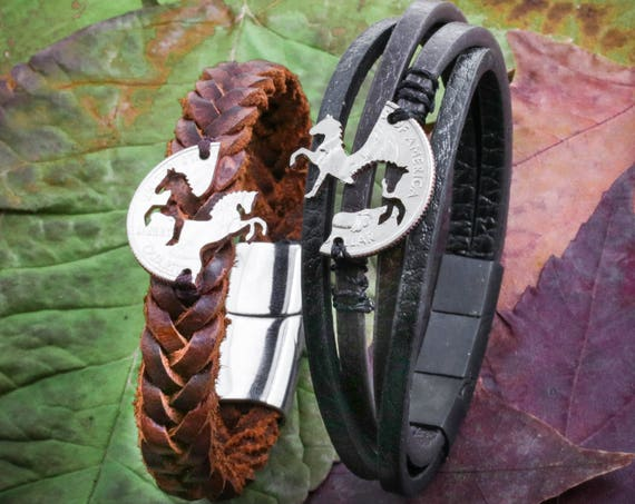 Best Friend Horse Relationship Bracelets, Prancing and Rearing Horses, Hand Sewn Couples Bracelets, Woven Leather Bracelet for men and women