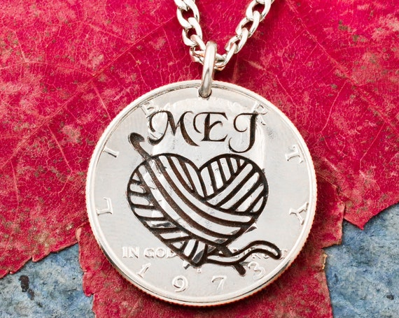 Heart-Shaped Yarn Ball Necklace, Custom Engraved Initials, Crochet, Knitting or Sewing Needle Coin Jewelry