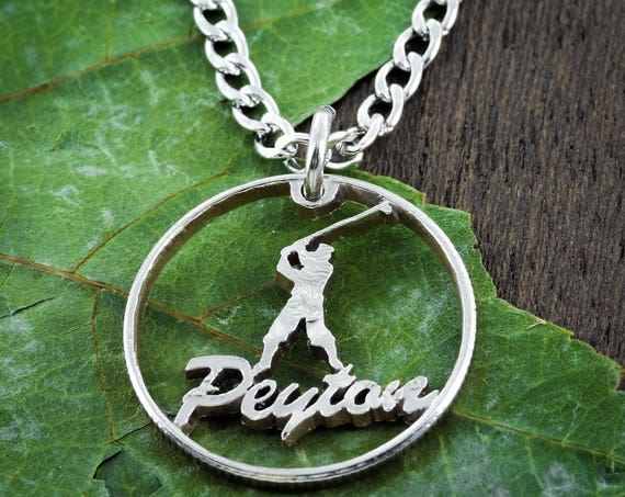 Golf Name Necklace, Golfer Gift, Man or Woman Silhouette, Dad Gift, Custom, Hand Cut Coin