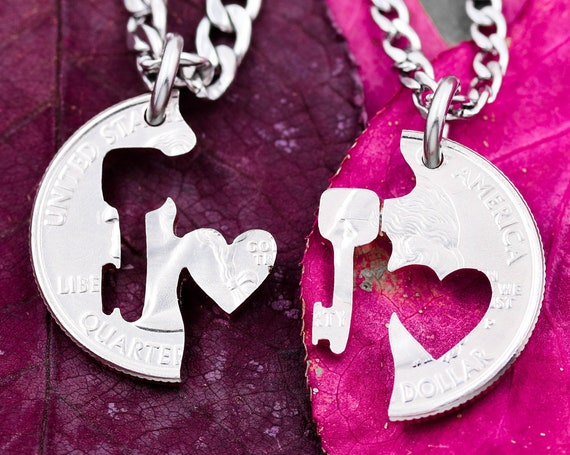 Key and Heart Couples Necklace, BFF Jewelry, Interlocking Love Quarter, Hand Cut Coin