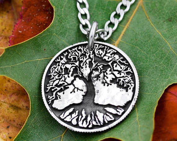 Engraved Tree Necklace, Deep Roots, Hammered and Engraved Silver Coin