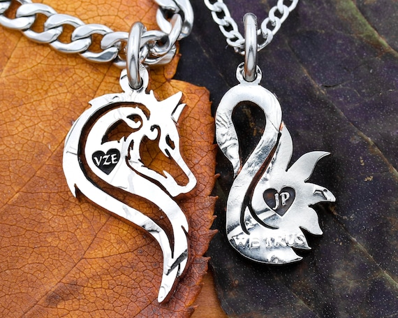 Wolf and Swan Couples Necklaces, Engraved Little Hearts with Initials, Couples Gifts, Relationship Jewelry, Hand Cut Coin