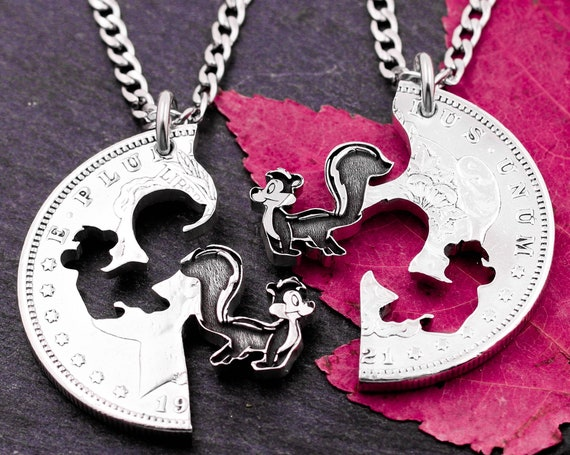 Skunk Necklaces, Stinker and Stinky, Animal Interlocking Set, Best Friend Jewelry, Hand Cut and Engraved Coin