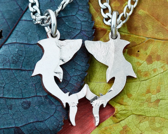 Shark Necklaces Making a Heart, Nose to Nose, Best Friends and Couples Sea Animal Jewelry, Hand Cut Coin