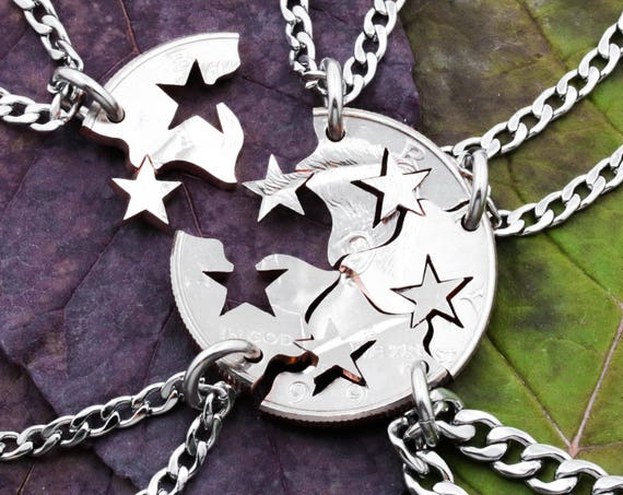 Star Friendship Necklaces, 5 Best Friends Gift, Interlocking like a puzzle, BFF Star Jewelry, Friends or Family Jewelry, Hand Cut Coin