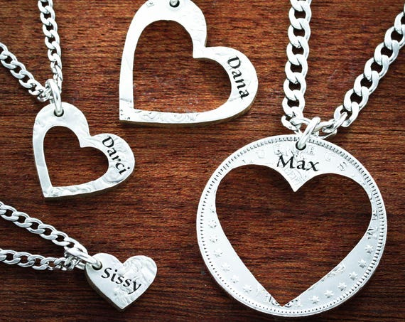 4 Best Friend Heart Necklaces, Custom Names, 4 BFF or Family Love Necklaces, Hearts in Hearts, Puzzle Jewelry