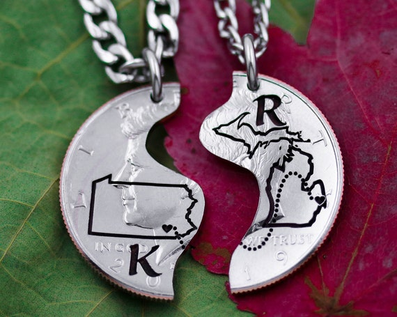 State-to-State Couples Necklaces, Custom Initials Engraved, Heart on Your Cities, Long Distance Relationship Coin Jewelry