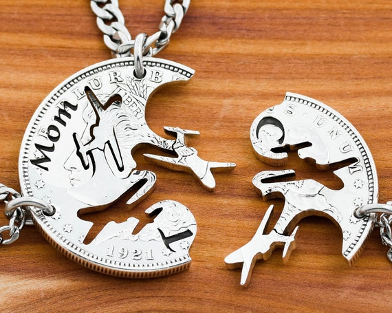 3 Plane Necklaces with Custom Names and Initials, Family Pilot Jewelry, Three Piece Airplanes, Interlocking Hand Cut Coin