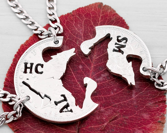 3 Piece Wolves Necklaces with Custom Initials, Howling Wolves, Wolf Family Jewelry, Hand Cut Coin