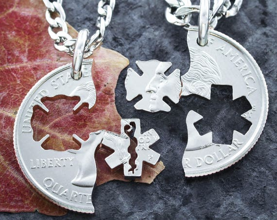 Firefighter and Emt Couples Necklaces, BFF Gifts, Fire and Medical, Fireman and Doctor Cut Coin
