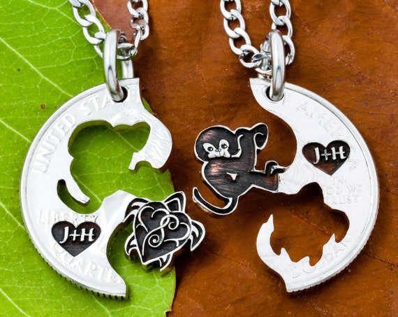 Monkey and Sea Turtle Necklaces, BFF Necklaces, Engraved Hearts with Custom Initials, Animal Relationship Puzzle Set, Hand Cut Coin