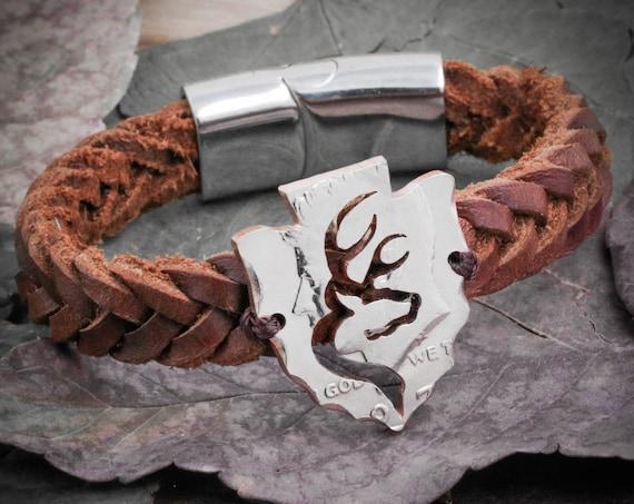 Buck Deer Bracelet, Arrowhead in Leather Bracelet, Hunters Gift, Gifts for Men, Hunting Jewelry, Boyfriend, By Namecoins